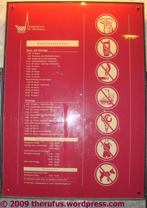 Verkehrszeichen im Stephansdom