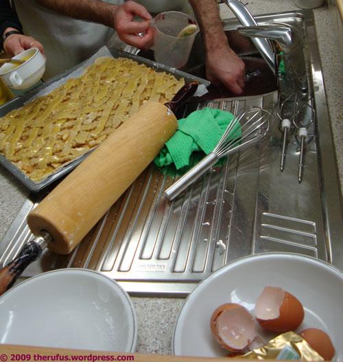 Apfelkuchen in Arbeit